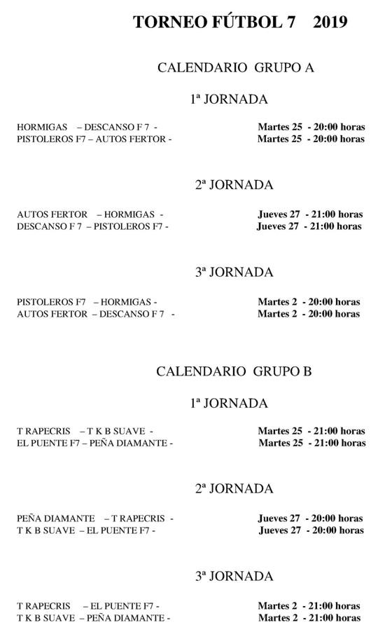 Calendario Futbol 2019.Calendario Del Torneo Futbol 7 Alora 2019